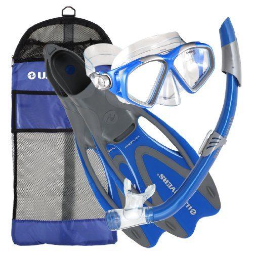 U.S. Divers Adult Cozumel Mask/Seabreeze II Snorkel/Proflex Fins/Gearbag (Elect. Blue, Medium)