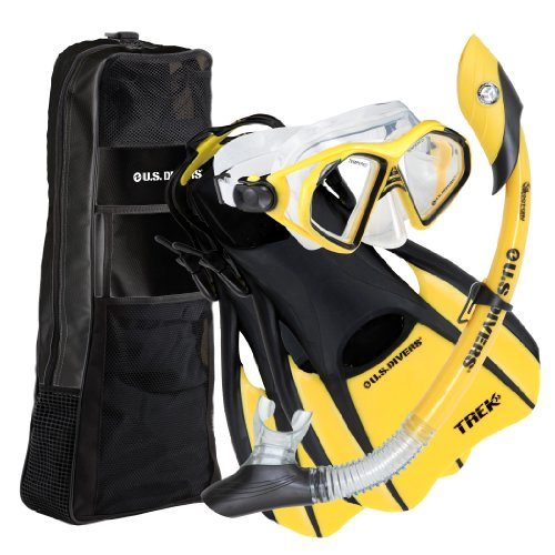 U.S. Divers Adult Admiral LX Mask/Island Dry Snorkel/Trek Fins/Travel Bag,Yellow,Small (Men (4-7),Women(5.5-8.5))