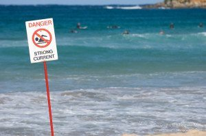Manly Beach, New South Wales, Australia; strong current danger sign with surfers in the background