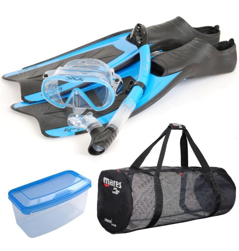 premium snorkel set with mask case and bag