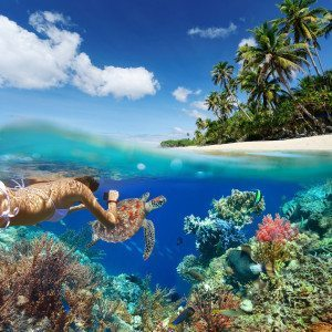 Young woman snorkeling over coral reef in tropical sea on a background of green island