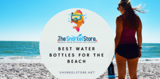 blog title image with a women holding a water bottle at beach