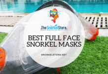 ocean reef aria full face mask laying in grass near a pool