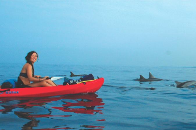 young lady kayaking in Maui with dolphins