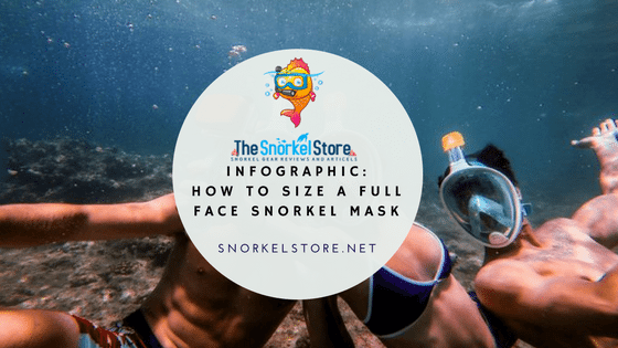 blog title for full face snorkel masks with 3 snorkelers wearing masks and taking a selfie