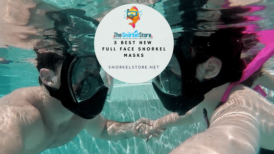 A couple snorkeling with full face snorkel masks on (blog title graphic)