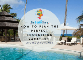 Blog title cover for snorkeling vacations of a pool and beach hut