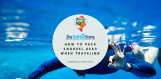 "Blog title image for packing snorkel gear with a snorkeler giving the ""ok"" sign"