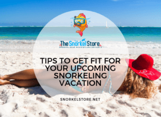 fit woman laying on beach ready to snorkel