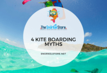 water kiteboarder and a snorkeler